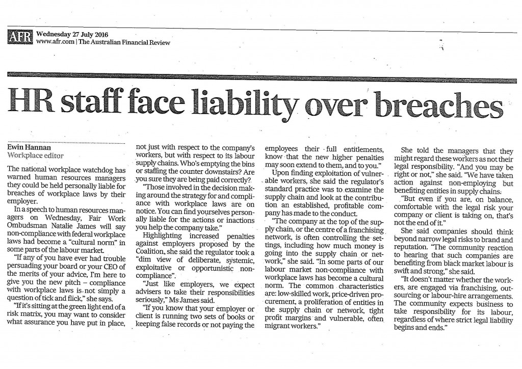 HR staff face liability AFR